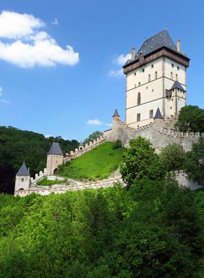 the exterior of czech castle named karlstejn