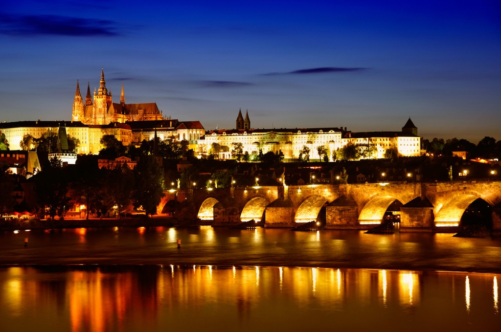 Prague. Charles Bridge at dawn.